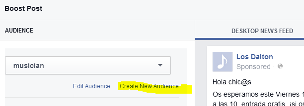 Crear audiencia paso 1