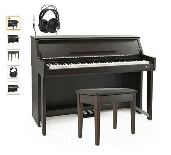 Piano Digital Vertical DP70U de Gear4music + Set de Accesorios