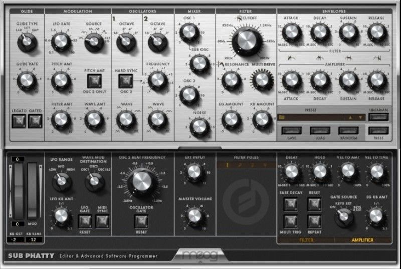 El software editor del Moog Sub Phatty